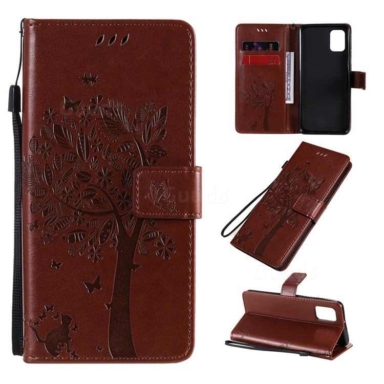 Embossing Butterfly Tree Leather Wallet Case for Samsung Galaxy A31 - Coffee