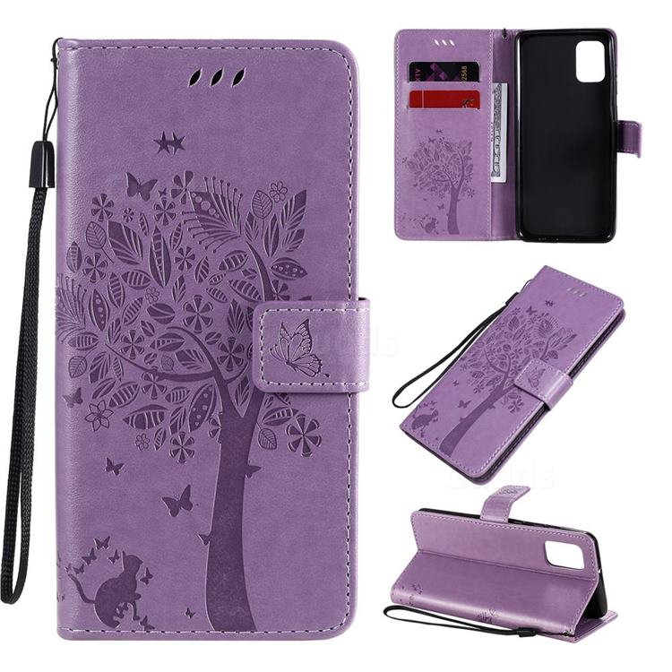 Embossing Butterfly Tree Leather Wallet Case for Samsung Galaxy A31 - Violet