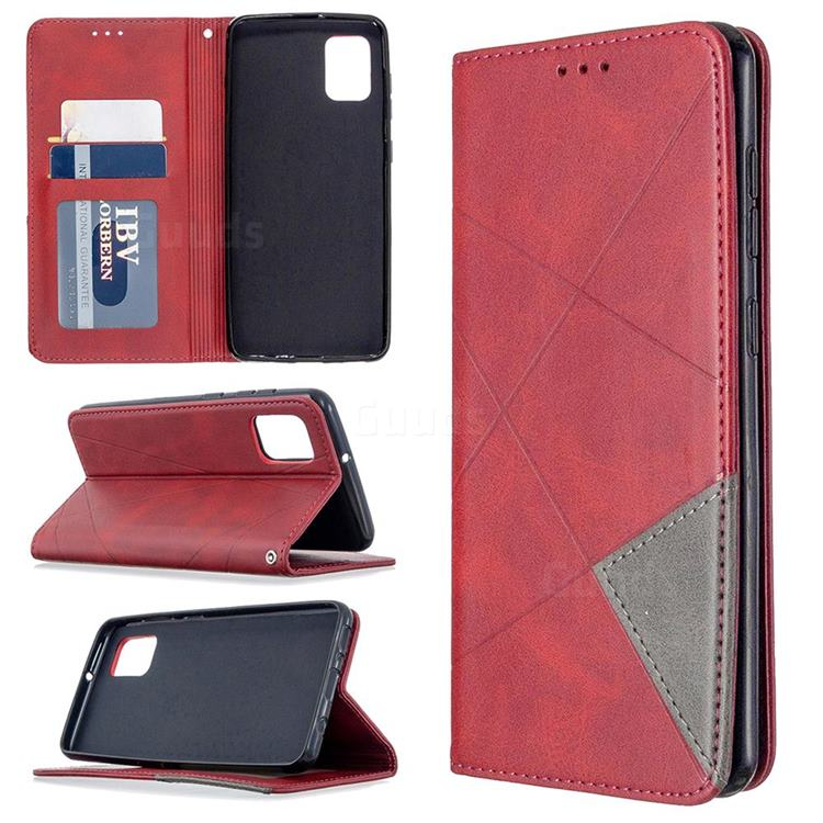 Prismatic Slim Magnetic Sucking Stitching Wallet Flip Cover for Samsung Galaxy A31 - Red