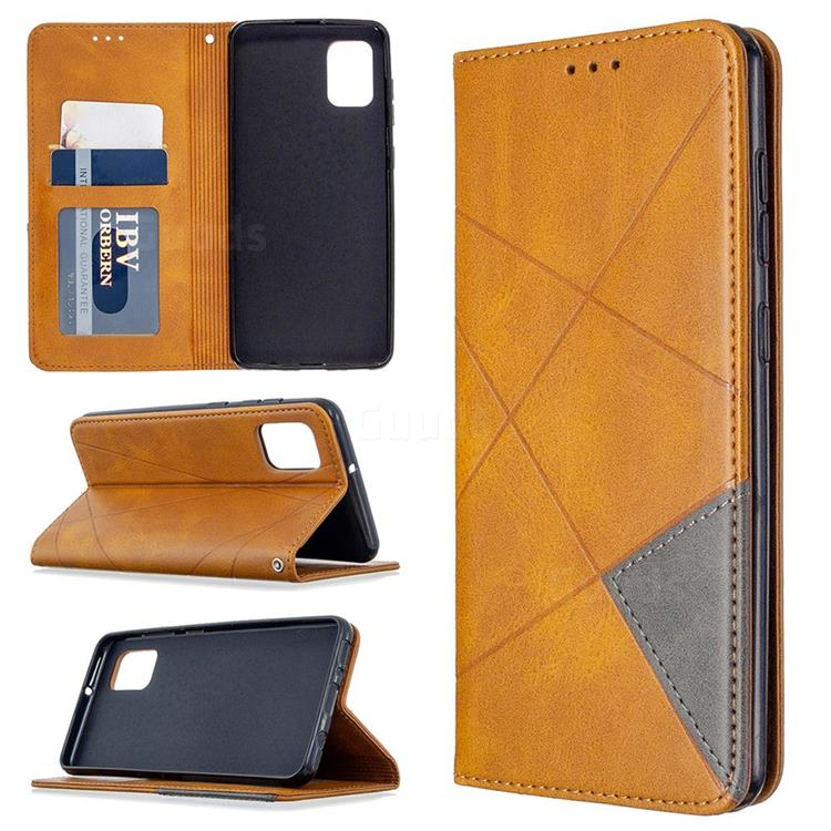 Prismatic Slim Magnetic Sucking Stitching Wallet Flip Cover for Samsung Galaxy A31 - Yellow