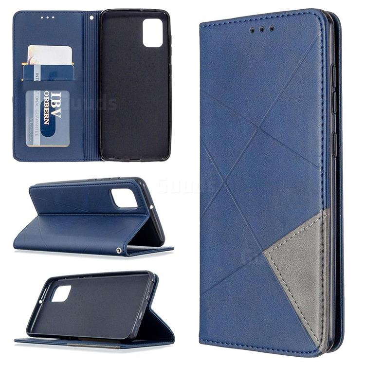 Prismatic Slim Magnetic Sucking Stitching Wallet Flip Cover for Samsung Galaxy A31 - Blue