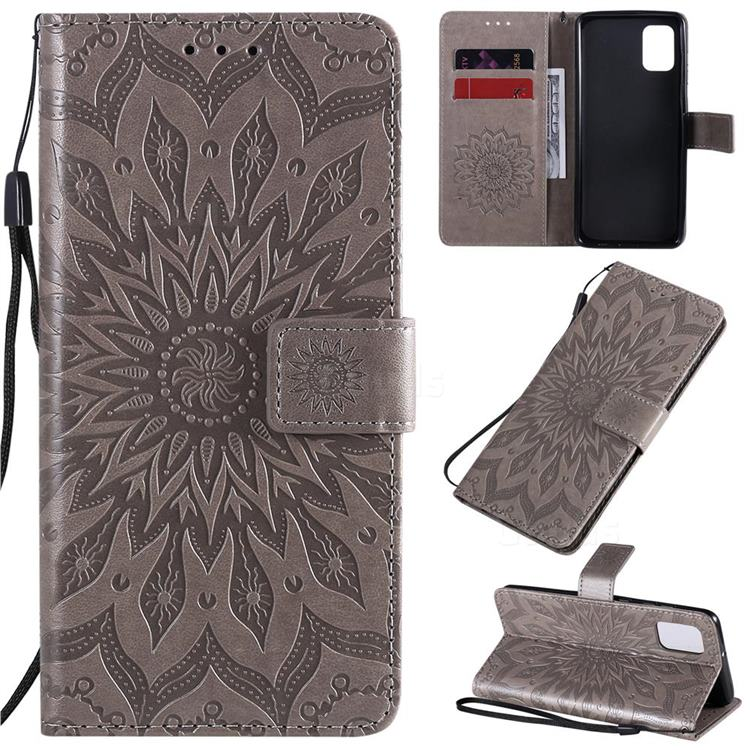 Embossing Sunflower Leather Wallet Case for Samsung Galaxy A31 - Gray
