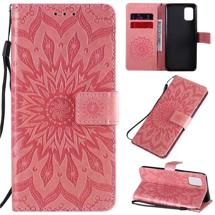 Embossing Sunflower Leather Wallet Case for Samsung Galaxy A31 - Pink
