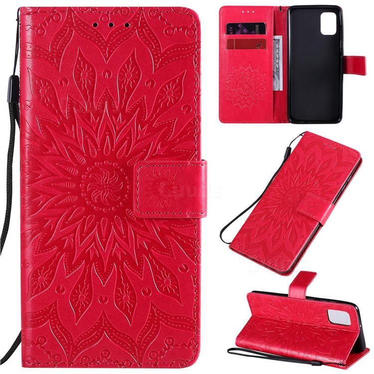 Embossing Sunflower Leather Wallet Case for Samsung Galaxy A31 - Red