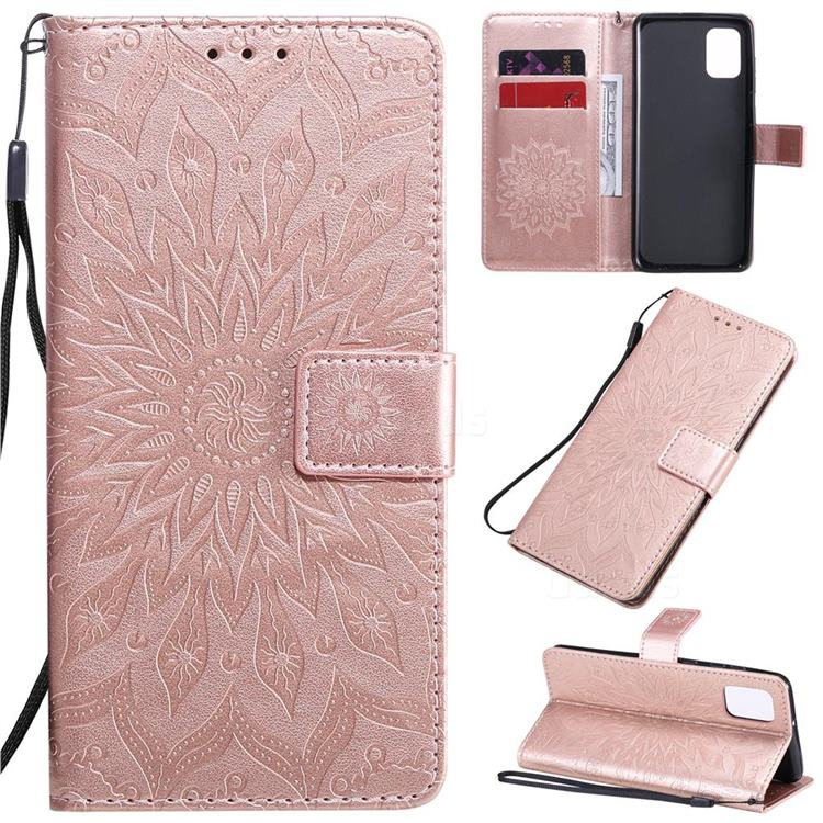 Embossing Sunflower Leather Wallet Case for Samsung Galaxy A31 - Rose Gold