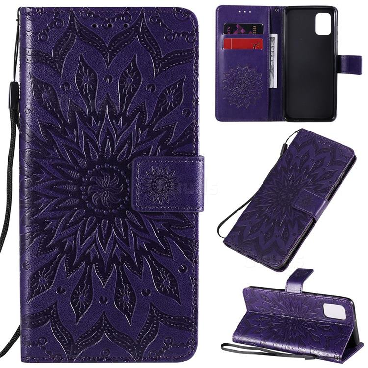 Embossing Sunflower Leather Wallet Case for Samsung Galaxy A31 - Purple