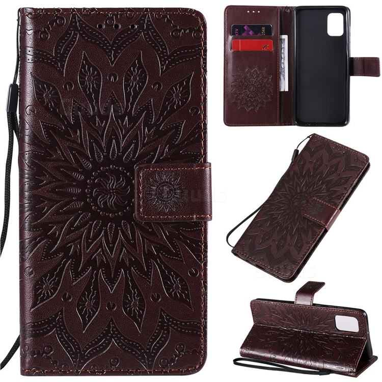Embossing Sunflower Leather Wallet Case for Samsung Galaxy A31 - Brown