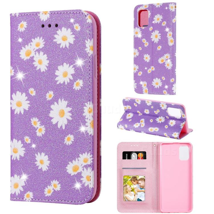 Ultra Slim Daisy Sparkle Glitter Powder Magnetic Leather Wallet Case for Samsung Galaxy A31 - Purple