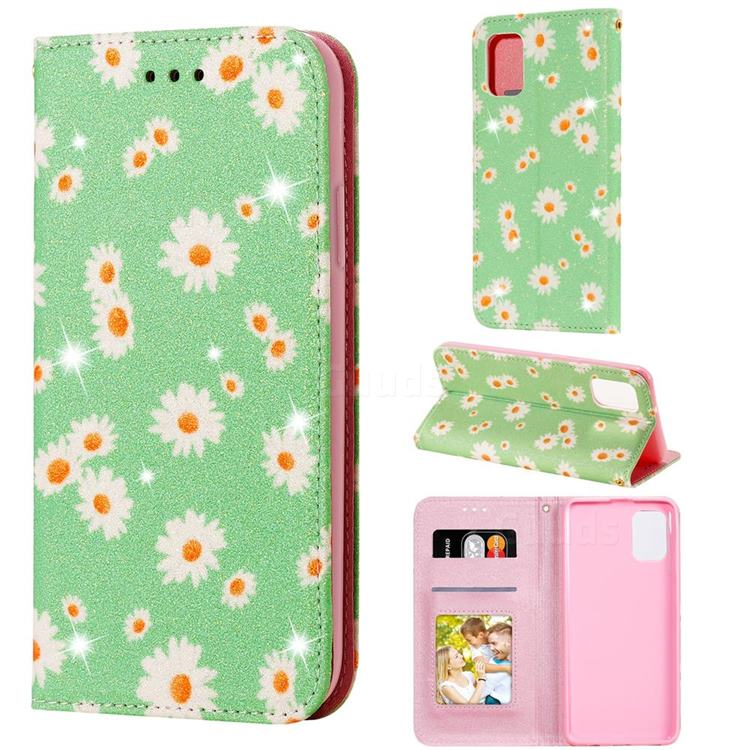 Ultra Slim Daisy Sparkle Glitter Powder Magnetic Leather Wallet Case for Samsung Galaxy A31 - Green
