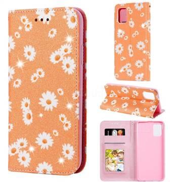 Ultra Slim Daisy Sparkle Glitter Powder Magnetic Leather Wallet Case for Samsung Galaxy A31 - Orange