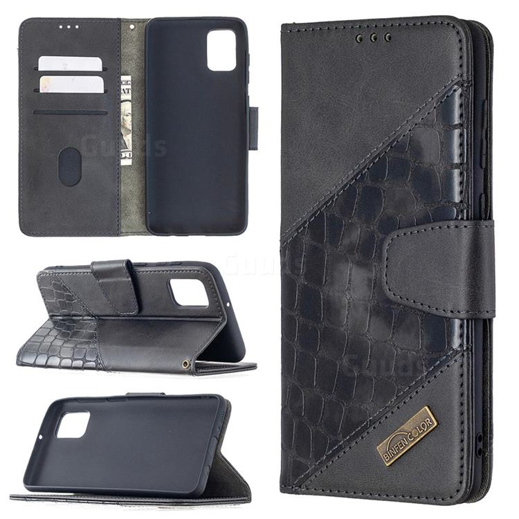 BinfenColor BF04 Color Block Stitching Crocodile Leather Case Cover for Samsung Galaxy A31 - Black