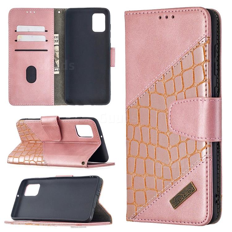 BinfenColor BF04 Color Block Stitching Crocodile Leather Case Cover for Samsung Galaxy A31 - Rose Gold