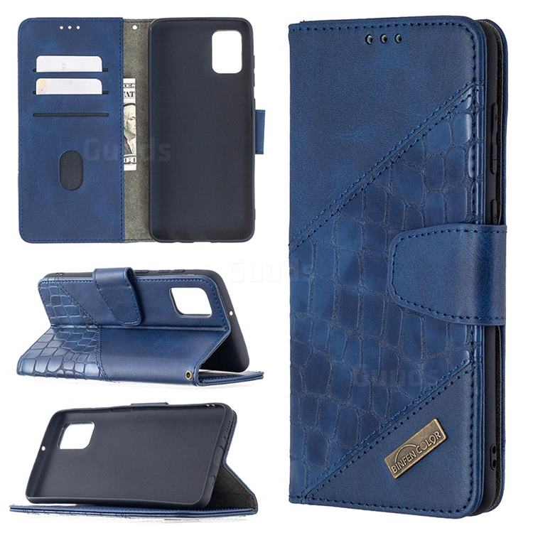BinfenColor BF04 Color Block Stitching Crocodile Leather Case Cover for Samsung Galaxy A31 - Blue