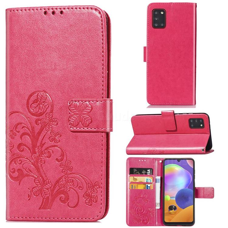 Embossing Imprint Four-Leaf Clover Leather Wallet Case for Samsung Galaxy A31 - Rose Red