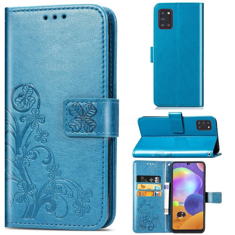 Embossing Imprint Four-Leaf Clover Leather Wallet Case for Samsung Galaxy A31 - Blue