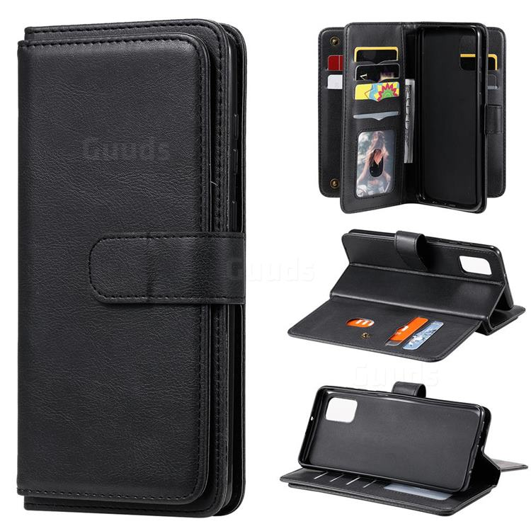 Multi-function Ten Card Slots and Photo Frame PU Leather Wallet Phone Case Cover for Samsung Galaxy A31 - Black