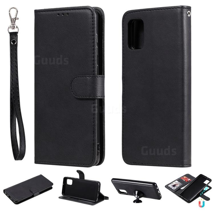 Retro Greek Detachable Magnetic PU Leather Wallet Phone Case for Samsung Galaxy A31 - Black