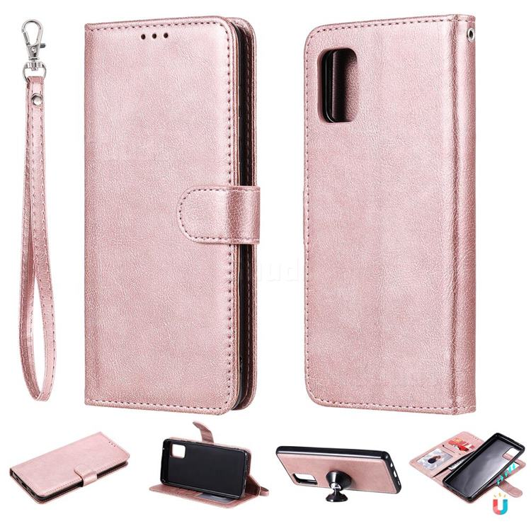 Retro Greek Detachable Magnetic PU Leather Wallet Phone Case for Samsung Galaxy A31 - Rose Gold