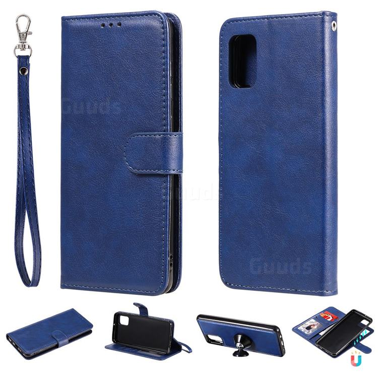 Retro Greek Detachable Magnetic PU Leather Wallet Phone Case for Samsung Galaxy A31 - Blue