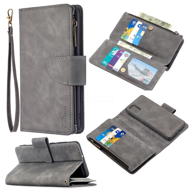 Binfen Color BF02 Sensory Buckle Zipper Multifunction Leather Phone Wallet for Samsung Galaxy A31 - Gray