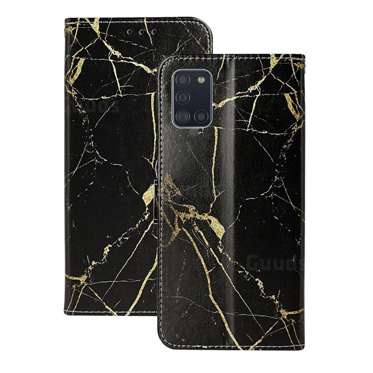 Black Gold Marble PU Leather Wallet Case for Samsung Galaxy A31