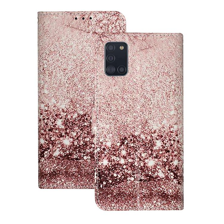 Glittering Rose Gold PU Leather Wallet Case for Samsung Galaxy A31
