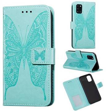 Intricate Embossing Vivid Butterfly Leather Wallet Case for Samsung Galaxy A31 - Green