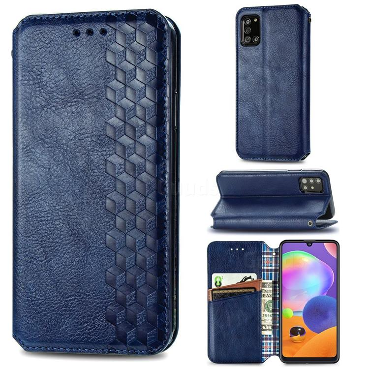 Ultra Slim Fashion Business Card Magnetic Automatic Suction Leather Flip Cover for Samsung Galaxy A31 - Dark Blue