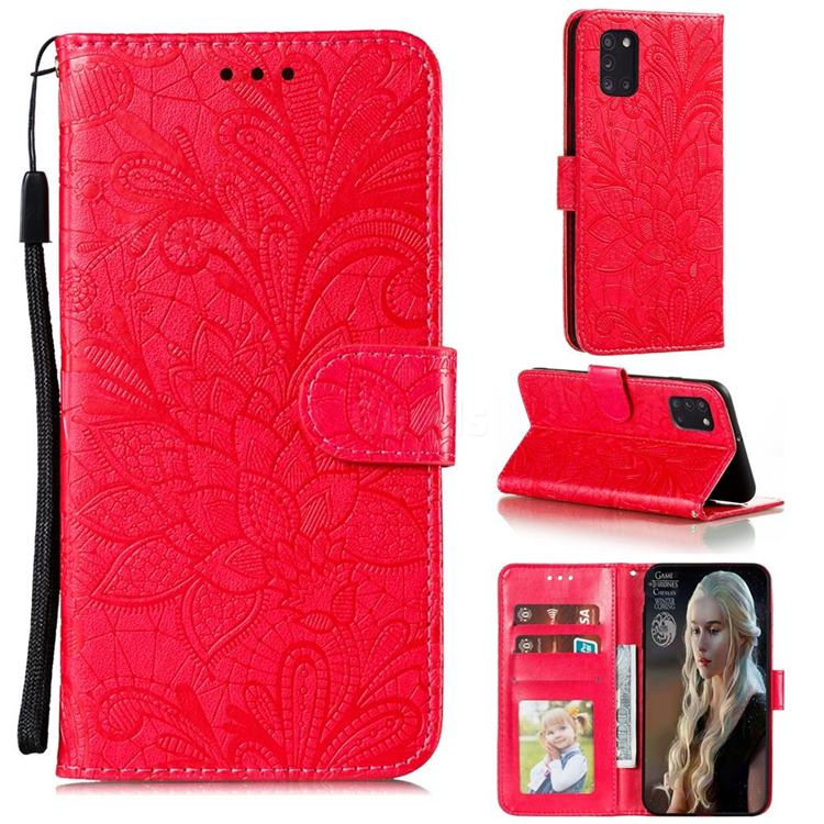 Intricate Embossing Lace Jasmine Flower Leather Wallet Case for Samsung Galaxy A31 - Red