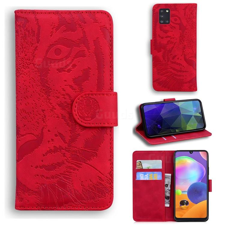 Intricate Embossing Tiger Face Leather Wallet Case for Samsung Galaxy A31 - Red