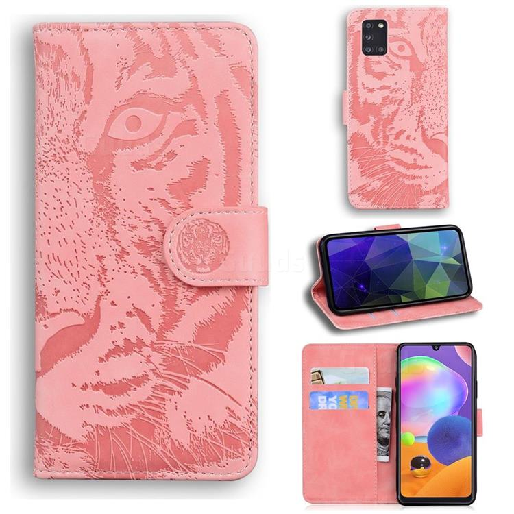 Intricate Embossing Tiger Face Leather Wallet Case for Samsung Galaxy A31 - Pink