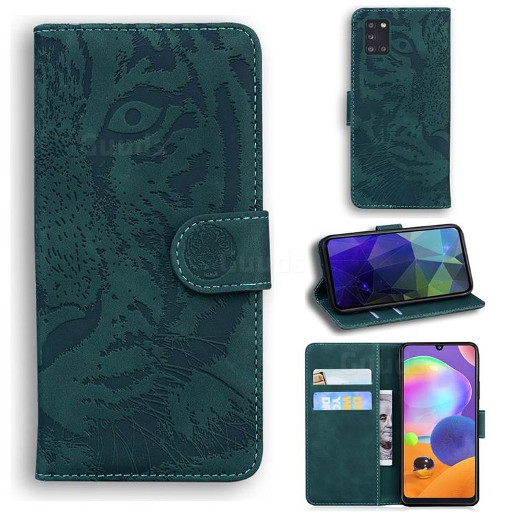 Intricate Embossing Tiger Face Leather Wallet Case for Samsung Galaxy A31 - Green