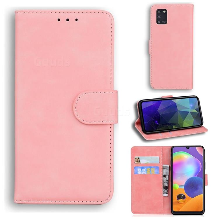 Retro Classic Skin Feel Leather Wallet Phone Case for Samsung Galaxy A31 - Pink