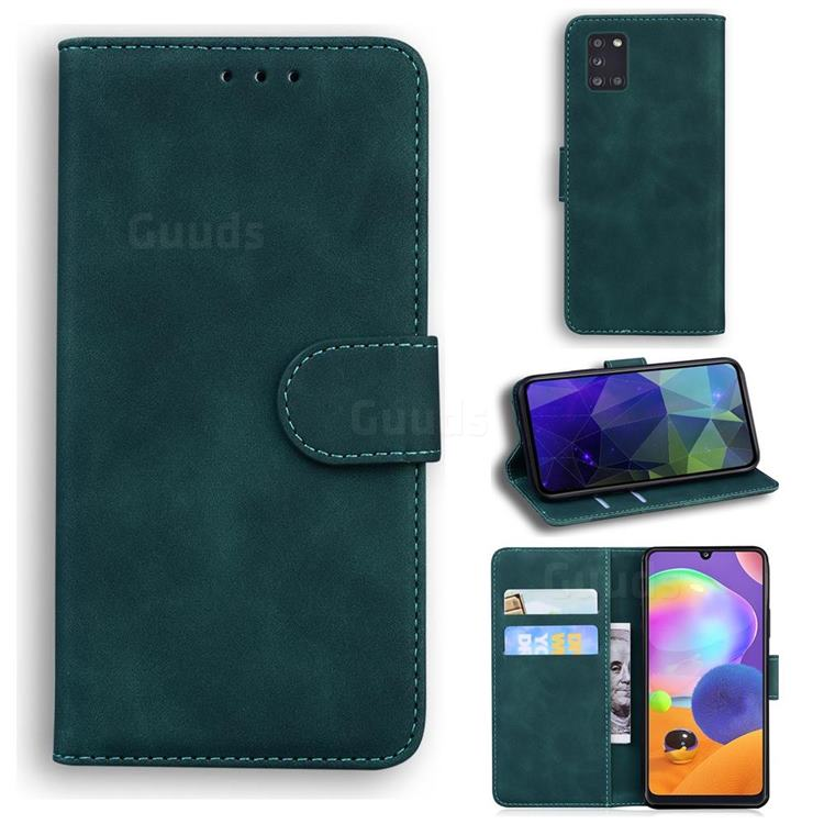 Retro Classic Skin Feel Leather Wallet Phone Case for Samsung Galaxy A31 - Green