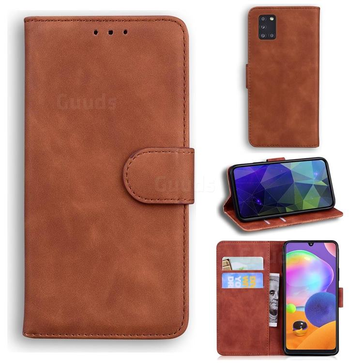 Retro Classic Skin Feel Leather Wallet Phone Case for Samsung Galaxy A31 - Brown