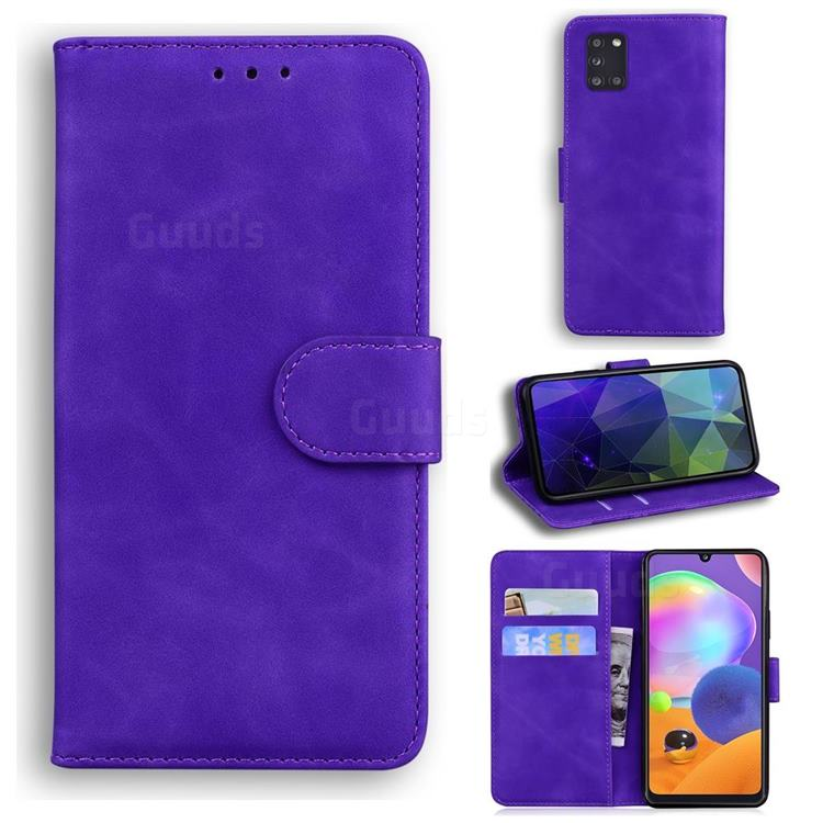 Retro Classic Skin Feel Leather Wallet Phone Case for Samsung Galaxy A31 - Purple
