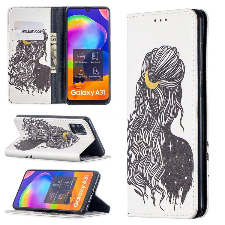 Girl with Long Hair Slim Magnetic Attraction Wallet Flip Cover for Samsung Galaxy A31