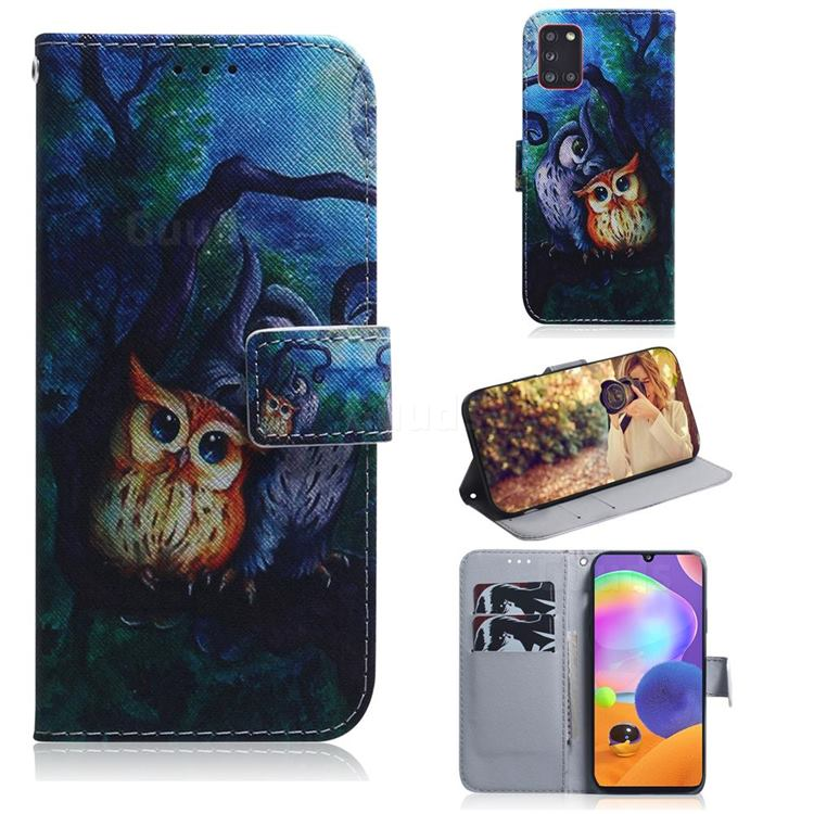 Oil Painting Owl PU Leather Wallet Case for Samsung Galaxy A31