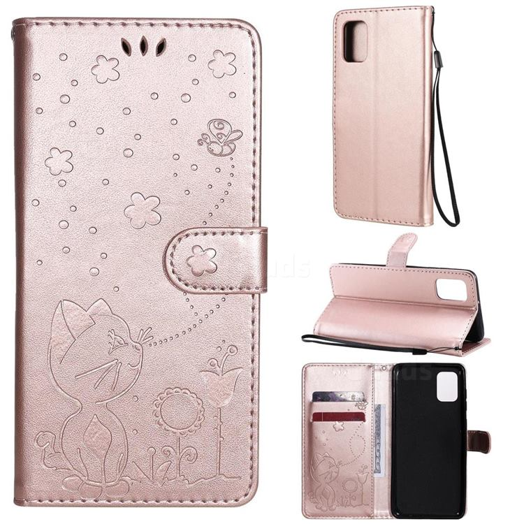 Embossing Bee and Cat Leather Wallet Case for Samsung Galaxy A31 - Rose Gold
