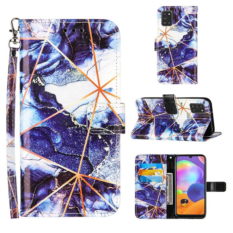 Starry Blue Stitching Color Marble Leather Wallet Case for Samsung Galaxy A31