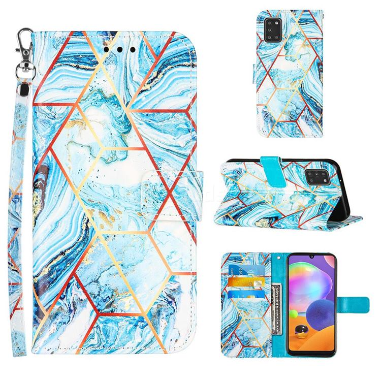 Lake Blue Stitching Color Marble Leather Wallet Case for Samsung Galaxy A31