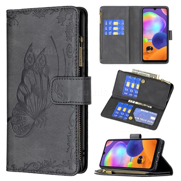 Binfen Color Imprint Vivid Butterfly Buckle Zipper Multi-function Leather Phone Wallet for Samsung Galaxy A31 - Black