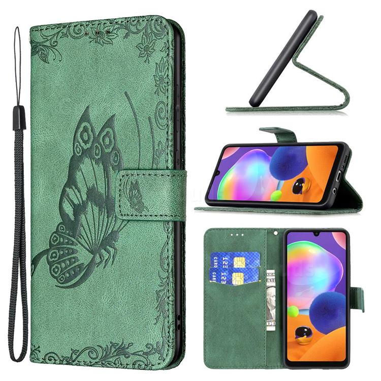 Binfen Color Imprint Vivid Butterfly Leather Wallet Case for Samsung Galaxy A31 - Green