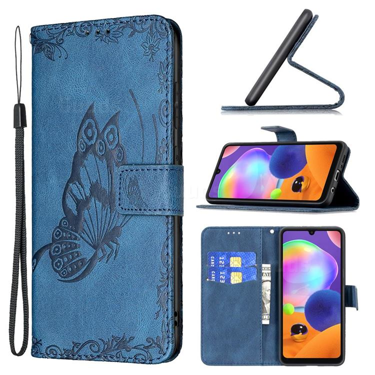 Binfen Color Imprint Vivid Butterfly Leather Wallet Case for Samsung Galaxy A31 - Blue