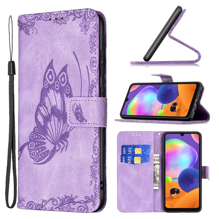 Binfen Color Imprint Vivid Butterfly Leather Wallet Case for Samsung Galaxy A31 - Purple
