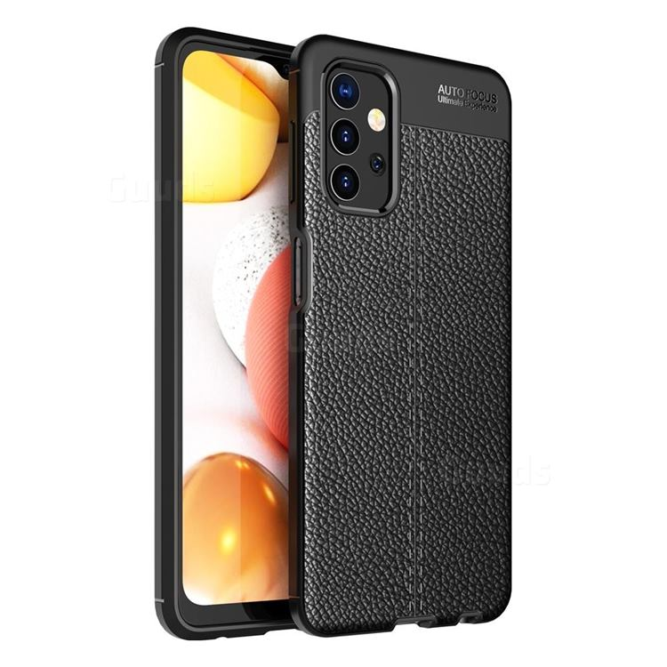 Luxury Auto Focus Litchi Texture Silicone TPU Back Cover for Samsung Galaxy A32 5G - Black