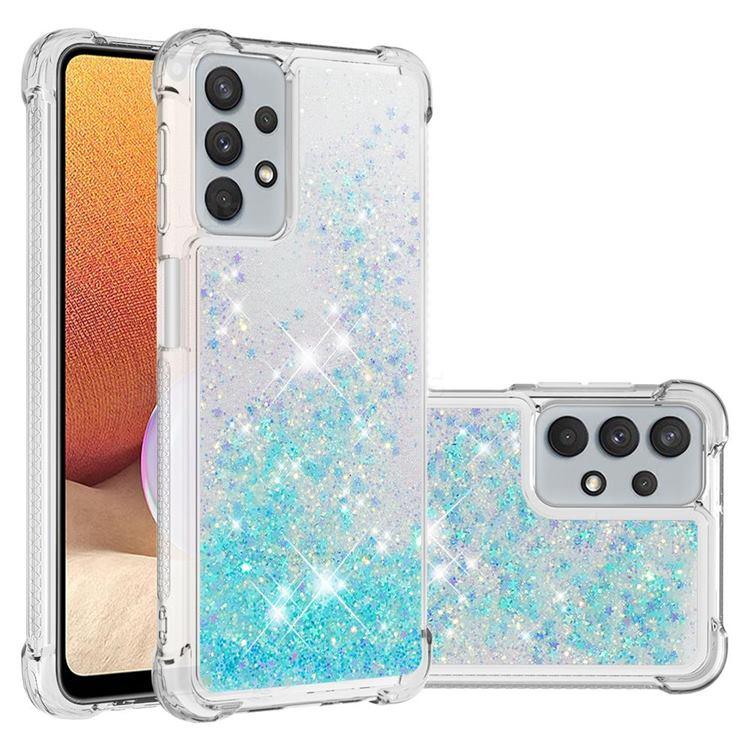 Dynamic Liquid Glitter Sand Quicksand TPU Case for Samsung Galaxy A32 5G - Silver Blue Star