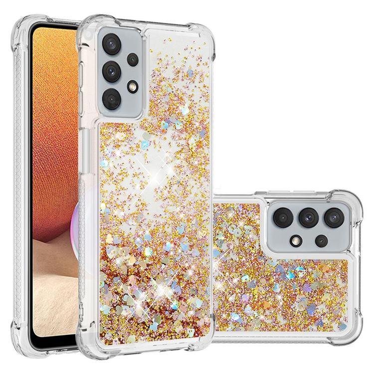 Dynamic Liquid Glitter Sand Quicksand TPU Case for Samsung Galaxy A32 5G - Rose Gold Love Heart