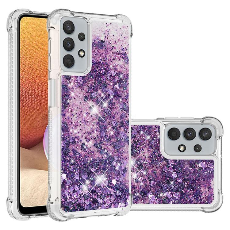 Dynamic Liquid Glitter Sand Quicksand Star TPU Case for Samsung Galaxy A32 5G - Purple