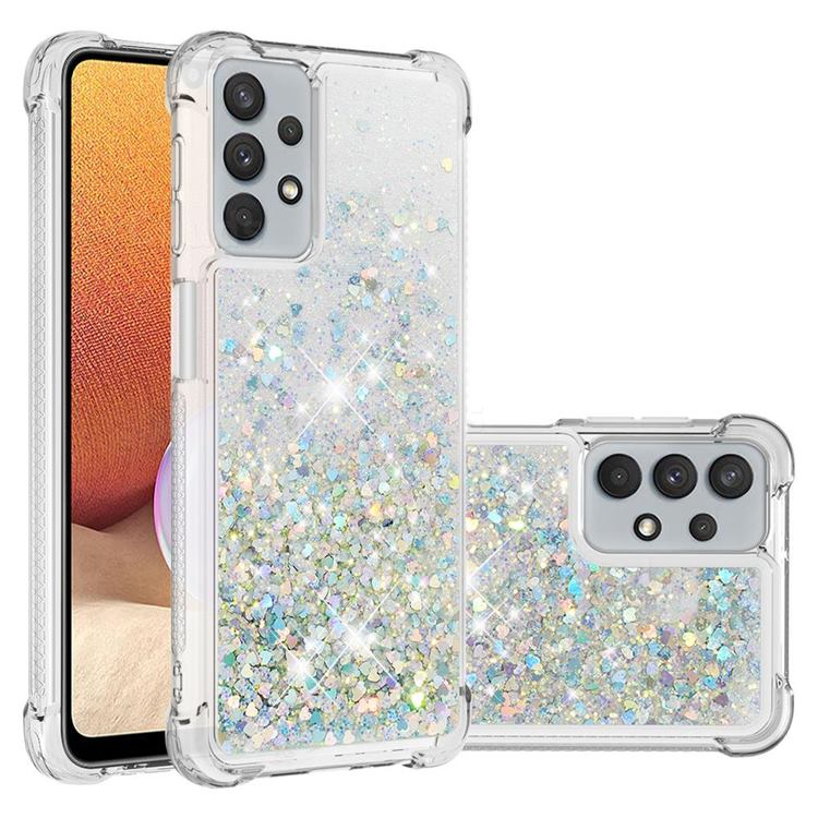 Dynamic Liquid Glitter Sand Quicksand Star TPU Case for Samsung Galaxy A32 5G - Silver